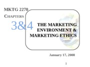 Intro Mktg - 03 - Marketing Enviro - ch 3 & 4