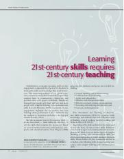 Learning 21 Century Skills Requires 21 Century Teaching