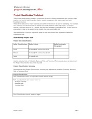 Project Classification Worksheet