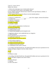 Possible Quiz Questions Chapter 4