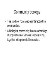 Lecture 24- Community Ecology