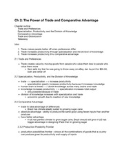 Ch 2 The Power of Trade and Comparative Advantage
