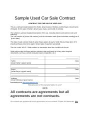 bl sample used car sale contract contract for the sale of used car