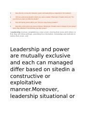 Describe the connection between power and leadership as explained in the textbook.docx