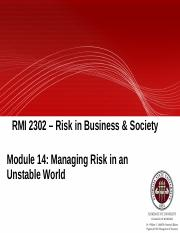 Module 14 - Managing Risk in an Unstable World