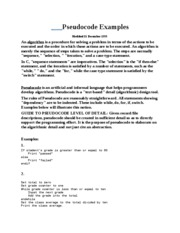 Pseudocode Examples