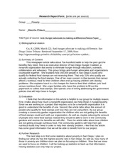 ANTI-HUNGER ADVOCATE research form