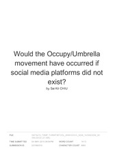 Would the Occupy-Umbrella movement have occurred if social media platforms did not exist-