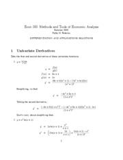 Econ 300 - Summer 2009_Differentiation and Applications - SOLUTIONS