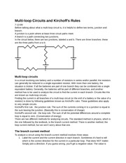 PY106 Chapter 6: Multi-loop circuit's and Kirchoff's rules