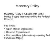 Macro 104 Monetary Fiscal Policy Lectures 1 2010