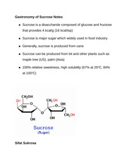 Gastronomy of Sucrose Notes