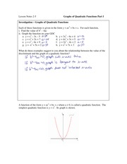 3.5 Graphs of Quadratic Functions Part I