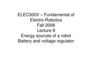 8 - Energy sources of a Robot Battery and Voltage Regulator