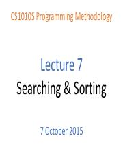 CS1010S Lecture 07 - Searching and Sorting.pdf
