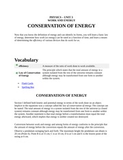 PHYSICS Conservation Of Energy