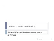 Lecture 7 Order and Justice in World Politics