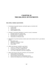 CHAPTER 10 THE BALANCE OF PAYMENTS