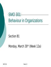SMO301 Week 12a (posted on ulearn)