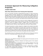 A Greener Approach for Measuring Colligative Properties Student handout