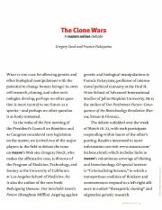 Stock and Fukuyama, 'The Clone Wars'