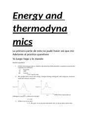 Energy and thermodynamics