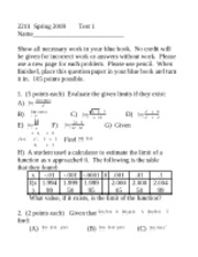 Calculus 1 Practice Test 1