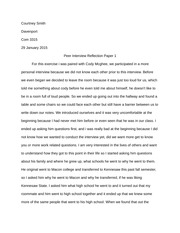 Peer Reflection Paper