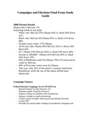 Campaigns and Elections Final Exam Study Guide