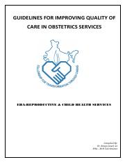 GUIDELINES FOR IMPROVING QUALITY OF CARE IN OBSTETRIC SERVICES final draft