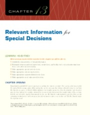 Chapter 13 Relevant Information for Special Decisions