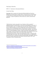 Essay - Thai Nguyen Thanh Hung - Introduction to International Relations