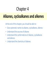 Lecture notes - Topic 4 Alkanes, cycloalkanes and alkenes