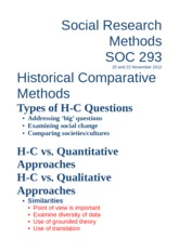 Week 13 - Historical Comparative Methods