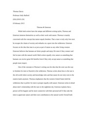 Thoreau and Emerson Paper