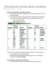 2.8 Compounds Formulas, Names, and Masses