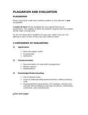 Plagiarism and Evaluation.doc