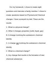 Physical and Chemical Survey Homework