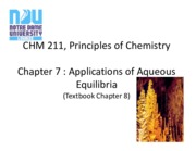Ch 7 - Applications of Aqueous Equilibria