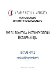 BME 312 Biomedical Instrumentation II-Lecture Note 6- Implantable Defibrillators