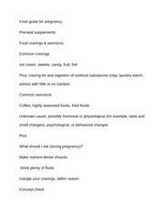 Notes on Food guide for pregnancy