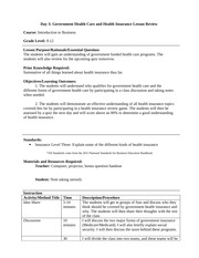 U-High Lab: Government Health Care and Unit Review Lesson Plan