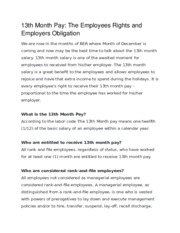13th Month Pay The Employees Rights and Employers Obligation