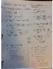 Pre-Calculus 12 Log Laws Quiz