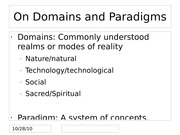 On Domains and Paradigms