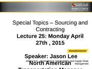 Special Topics Sourcing and Contracting Class - UMD