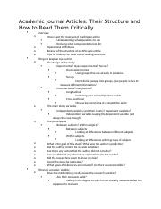 Academic Journal Articles- Their Structure and How to Read Them Critically