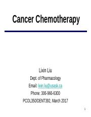 Cancer Chemotherapy March 2017 notes