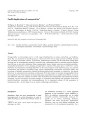 Health implications of nanoparticles