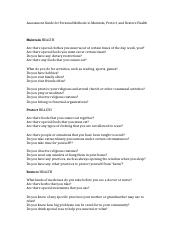 Assessment Guide for Personal Methods to Maintain